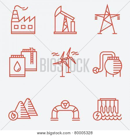 Industry icons, thin line style, flat design