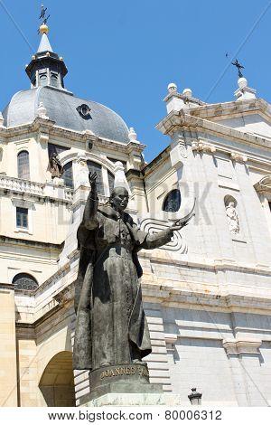 Statue Of Pope John Paul Ii In Madrid, Spain