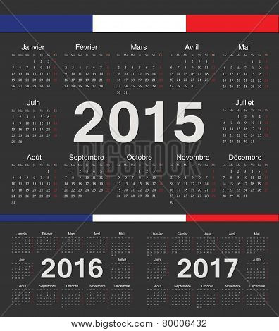 Vector Black French Rcircle Calendars 2015, 2016, 2017