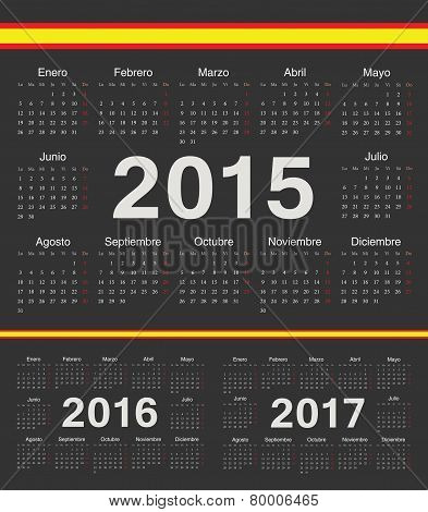 Vector Black Spanish Circle Calendars 2015, 2016, 2017