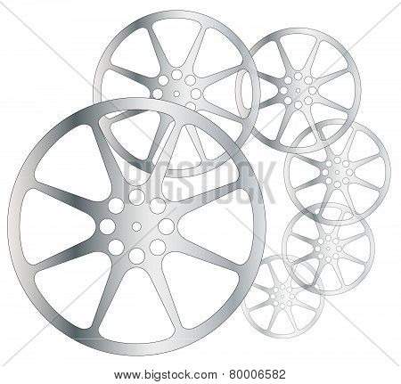 Movie Reels on white background