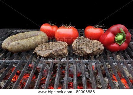 Grilled Fillet Steak, Bratwurst And Vegetables