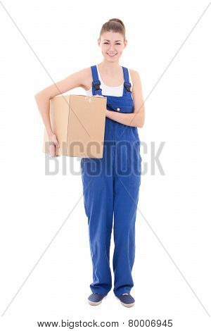 Young Attractive Woman In Blue Workwear Holding Cardboard Box Isolated On White