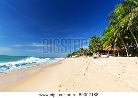 Beautiful Beach With Blue Sky