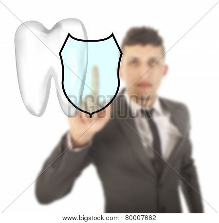 Young Man With Tooth Shield Symbol Isolated On White Background