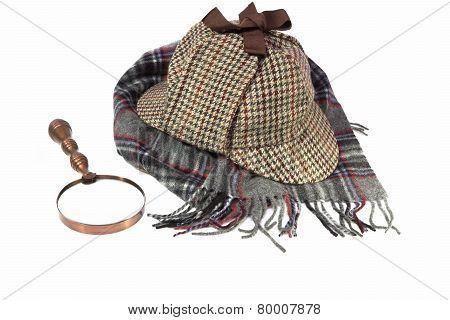 Deerstalker Hat, Retro Magnifying Glass And Woolen Tartan Scarf