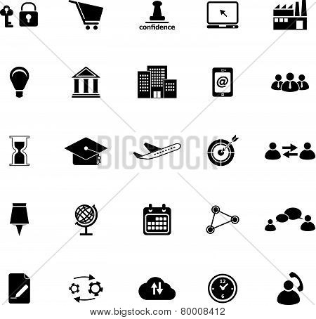 Business Connection Icons On White Background