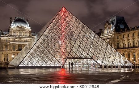 Paris, France - November 16, 2014: Night View Of The Louvre Museum With Crystal Pyramid