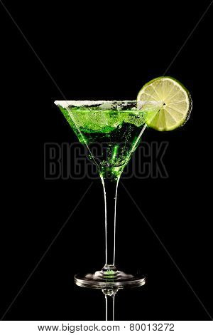 Green Margareta Fresh Coctail Isolated On Black