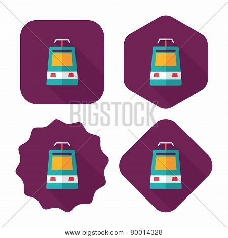 Speed Train Flat Icon With Long Shadow