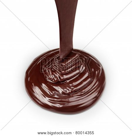 Stream Of Dark Chocolate Isolated On White Background