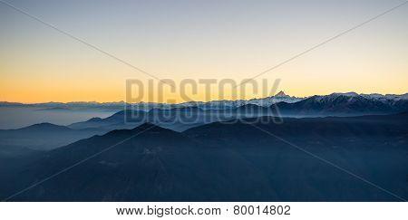 Italian Alpine Arc At Dusk