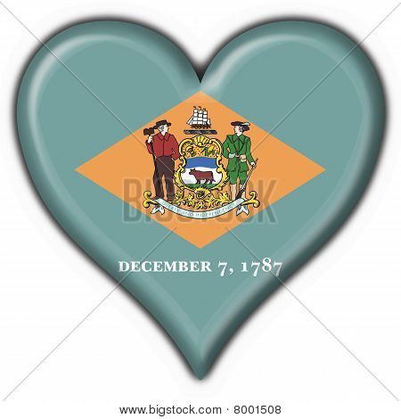 Delaware (usa State) Button Flag Heart Shape
