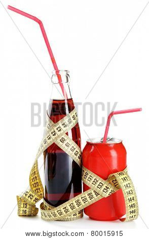 Bottle and can of dietary cocktail with straw and centimeter isolated on white