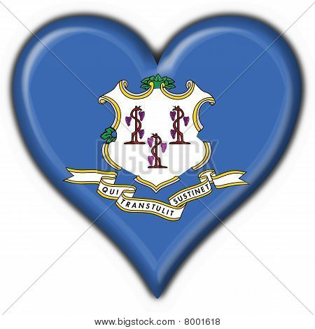 Connecticut (usa State) Button Flag Heart Shape