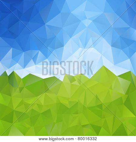 Vector Polygonal Background - Triangular Design In Meadow With