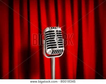 Vintage Microphone Over Red Curtains.