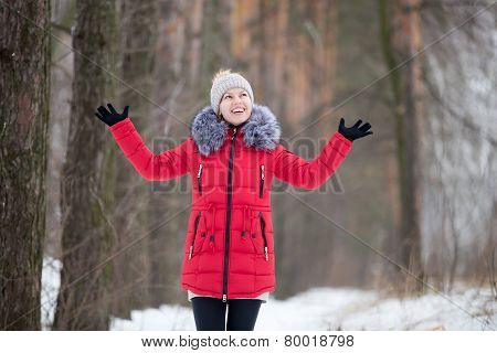 Happy Smiling Female In Red Winter Jacket, Outdoors