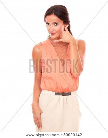 Attractive Woman Gesturing A Phone Call
