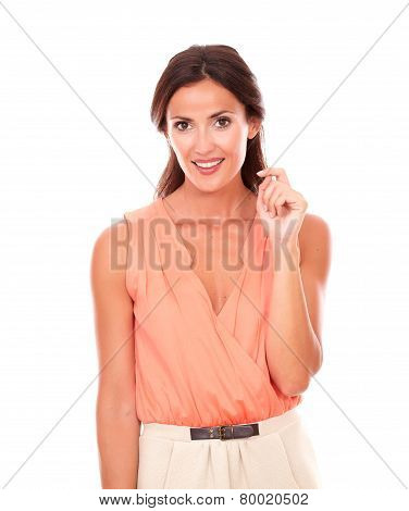 Pretty Latin Lady In Elegant Blouse Smiling