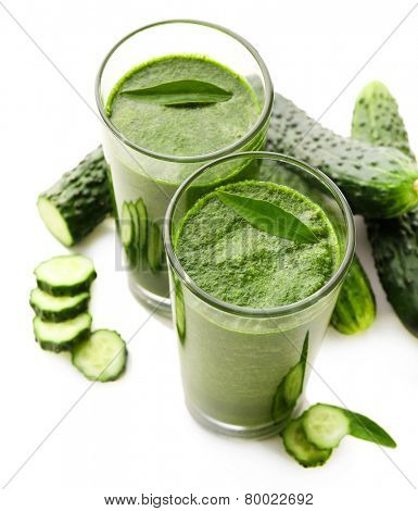 Green fresh healthy juice with cucumber isolated on white