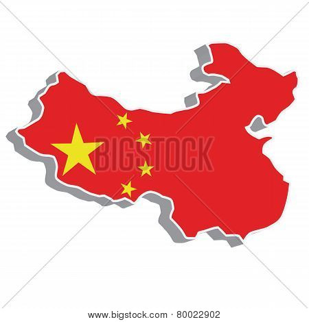 3D vector flag map of China.