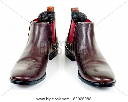 Brown leather boots for women