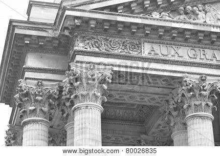 Sculptural Detail Of Pantheon In Paris.