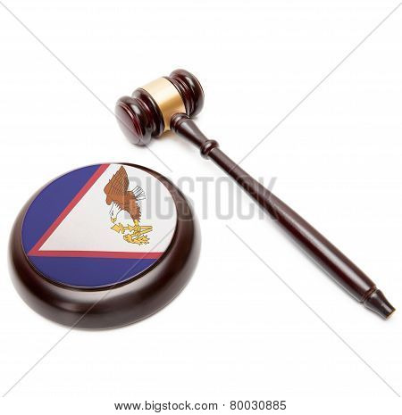 Judge Gavel And Soundboard With National Flag On It - American Samoa