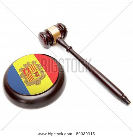 Judge Gavel And Soundboard With National Flag On It - Andorra