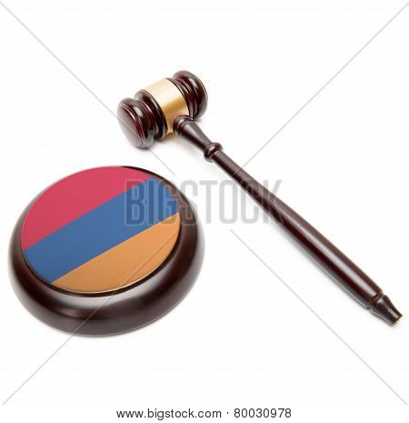 Judge Gavel And Soundboard With National Flag On It - Armenia