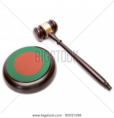 Judge Gavel And Soundboard With National Flag On It - Bangladesh