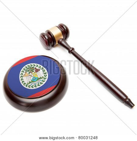 Judge Gavel And Soundboard With National Flag On It - Belize
