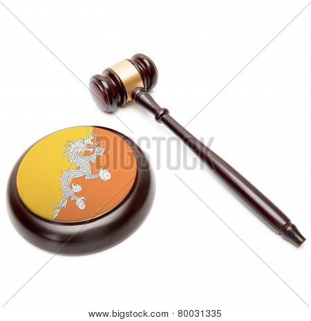 Judge Gavel And Soundboard With National Flag On It - Bhutan