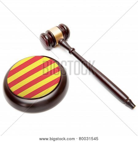 Judge Gavel And Soundboard With National Flag On It - Catalonia