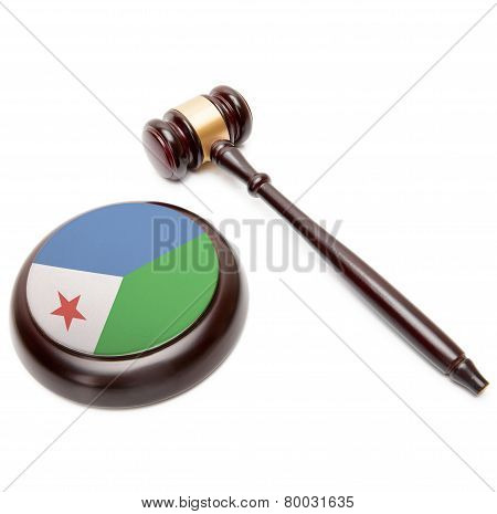 Judge Gavel And Soundboard With National Flag On It - Djibouti