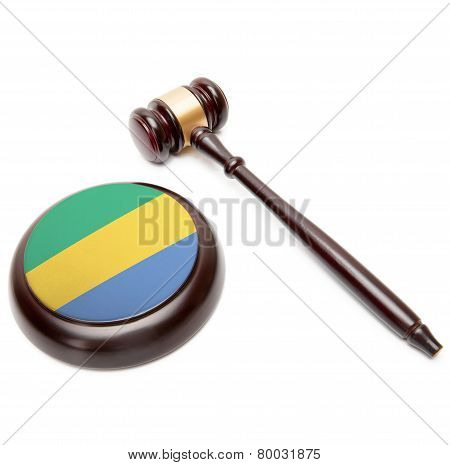 Judge Gavel And Soundboard With National Flag On It - Gabon