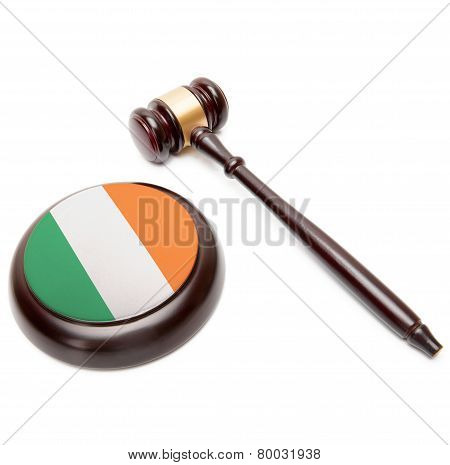 Judge Gavel And Soundboard With National Flag On It - Ireland