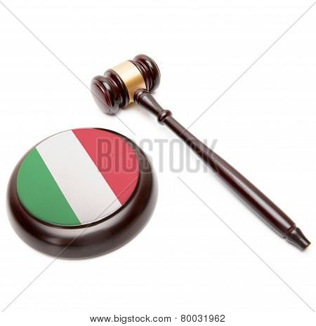 Judge Gavel And Soundboard With National Flag On It - Italy