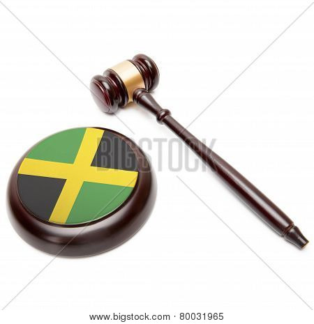 Judge Gavel And Soundboard With National Flag On It - Jamaica