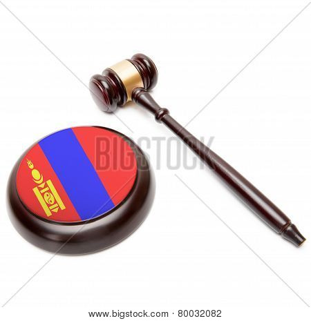 Judge Gavel And Soundboard With National Flag On It - Mongolia