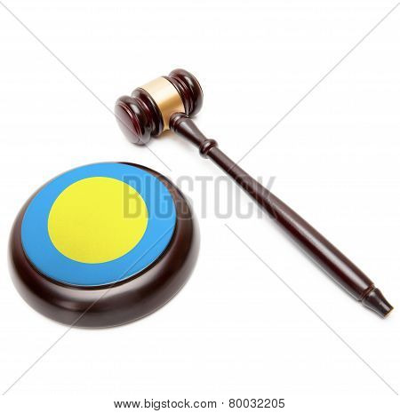 Judge Gavel And Soundboard With National Flag On It - Palau