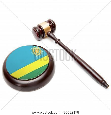 Judge Gavel And Soundboard With National Flag On It - Rwanda
