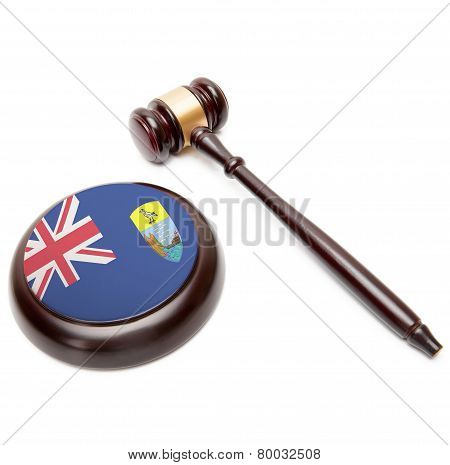 Judge Gavel And Soundboard With National Flag On It - Saint Helena