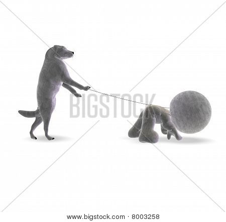 Inverted world Cartoon on white background - Dog keeps little man on a leash and takes him for a walk