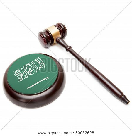 Judge Gavel And Soundboard With National Flag On It - Saudi Arabia