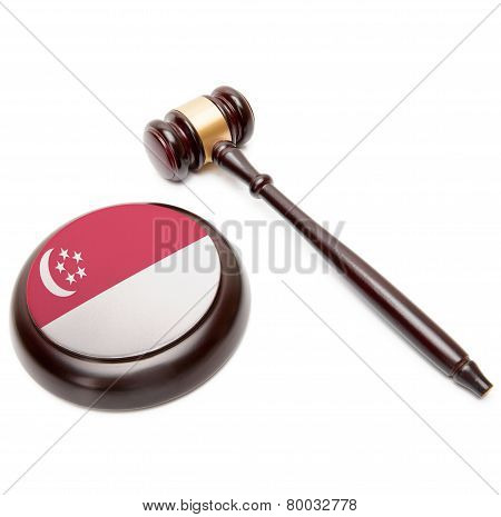 Judge Gavel And Soundboard With National Flag On It - Singapore