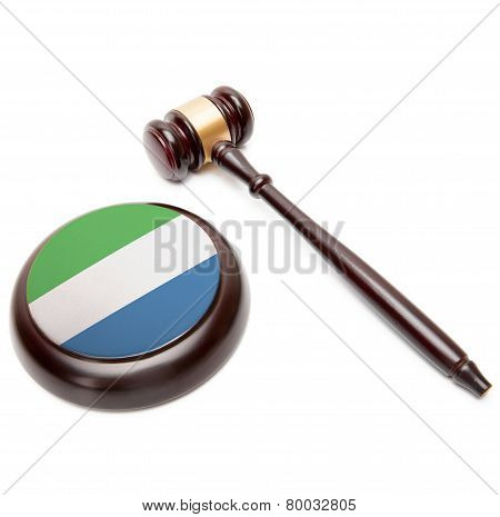 Judge Gavel And Soundboard With National Flag On It - Sierra Leone