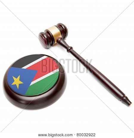 Judge Gavel And Soundboard With National Flag On It - South Sudan