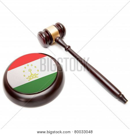 Judge Gavel And Soundboard With National Flag On It - Tajikistan